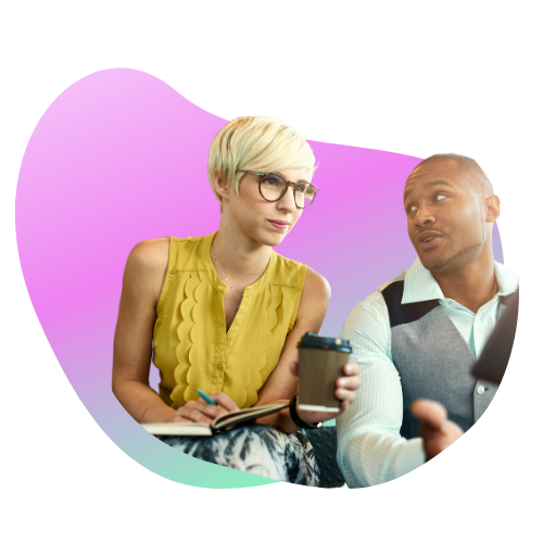 Woman and man discussing information in iPad
