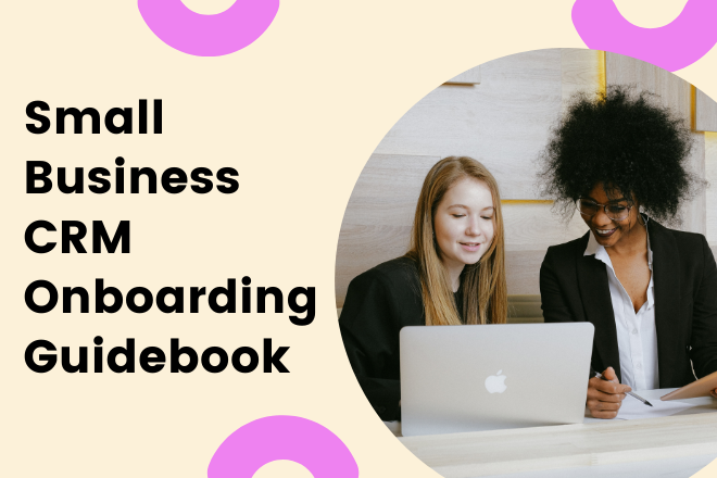 Small business onboarding guidebook with woman looking at laptop