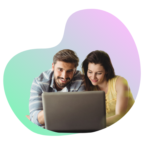 Couple looking at small business website