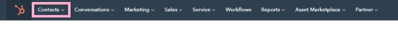 Hubspot Menu Bar with Contact Section Highlighted