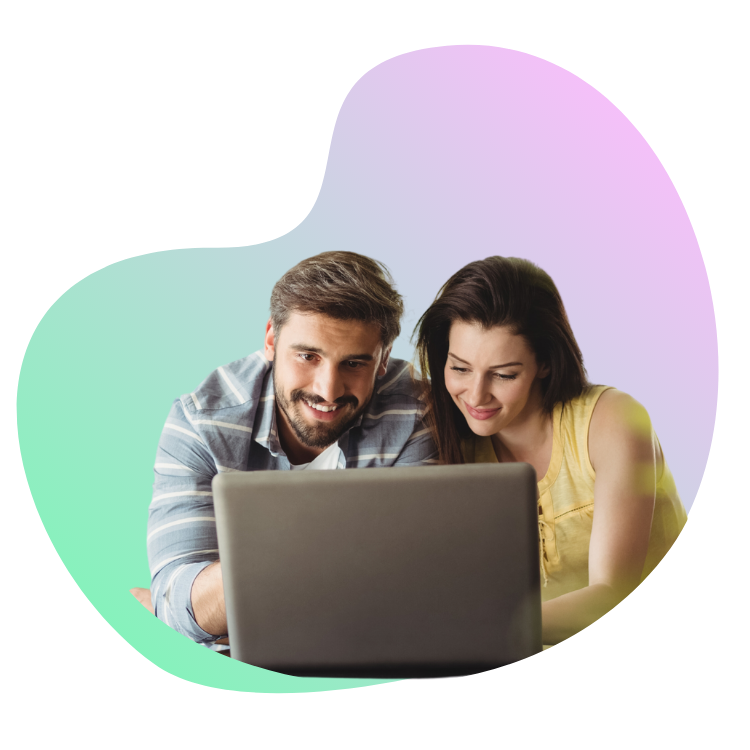 Couple looking at crm on laptop